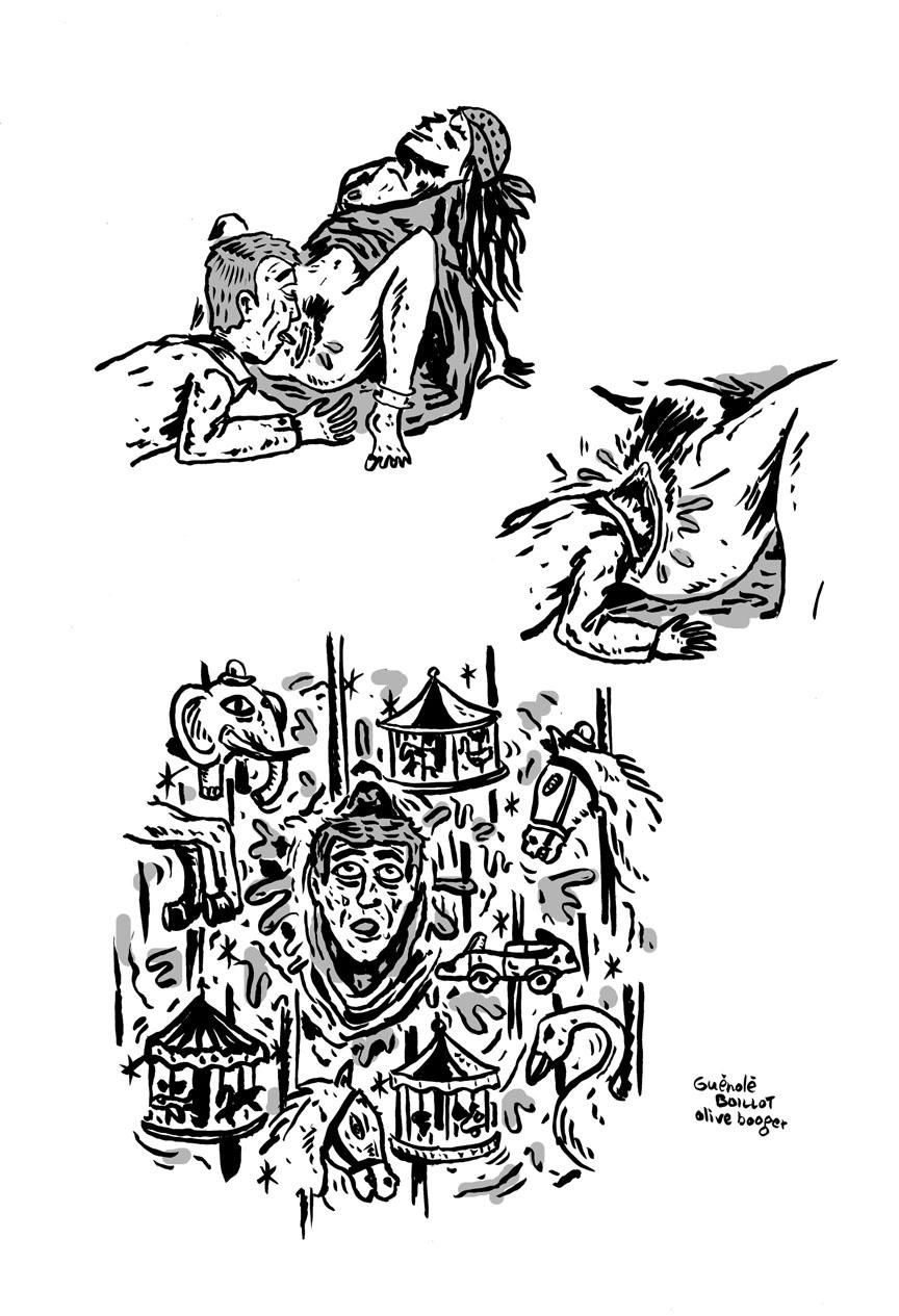 """Publié dans le magazine """"Gorgonzola"""" #13. Cette bédé a gagné le Grand Prix National du concours de bande-dessinée du Crous, édition 2011. Olive Booger est au dessin."""